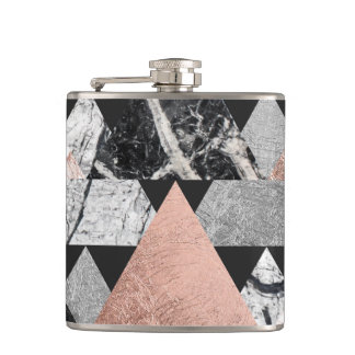 Marble Rose Gold Silver and Floral Geo Triangles Hip Flask
