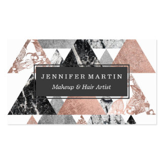 Marble Rose Gold Silver and Floral Geo Triangles Pack Of Standard Business Cards