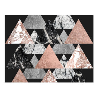 Marble Rose Gold Silver and Floral Geo Triangles Postcard
