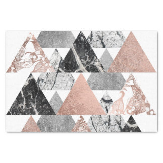 Marble Rose Gold Silver and Floral Geo Triangles Tissue Paper