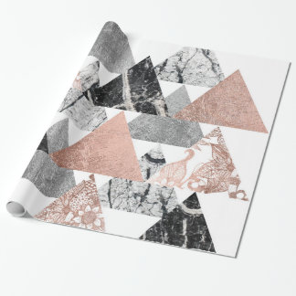 Marble Rose Gold Silver and Floral Geo Triangles Wrapping Paper