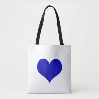Marble Royal Cobalt Blue Heart Tote Bag