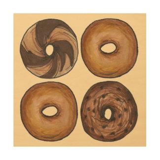 Marble Rye Plain Cinnamon NYC Breakfast Bagel Food Wood Wall Art