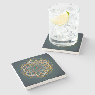 Marble sacred geometry coaster