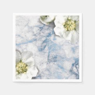 Marble Sapphire Blue White Jasmine Glitter Glitter Disposable Serviettes