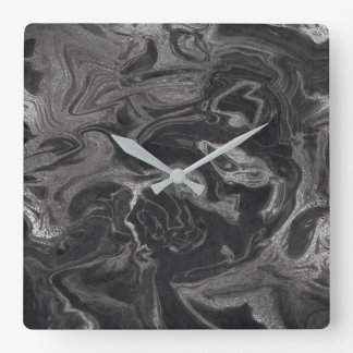 Marble Silver Gray Black Abstract Graphite VIP Wallclock