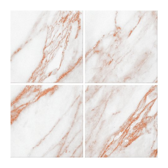 Marble Stone Abstract Coral Rose Gold White Canvas