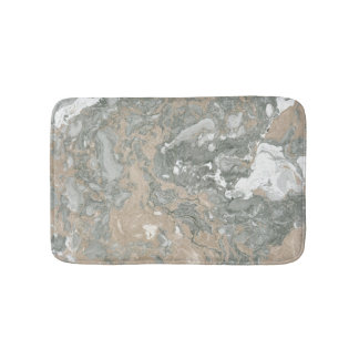 Marble Stone Abstract Creamy Beige Ivory Gray Bath Mat