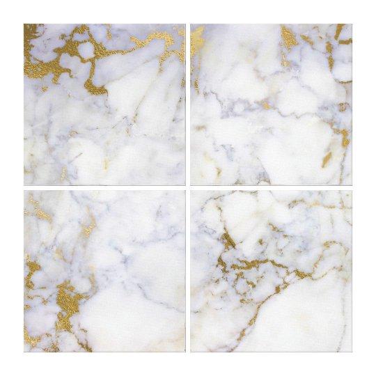 Marble Stone Abstract Gold Silver White Carrara Canvas
