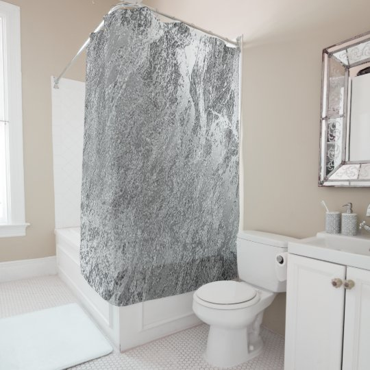 Marble Stone Abstract Metallic Silver Grey Luxury Shower Curtain