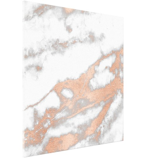 Marble Stone Abstract RoseGold White Grey Carrara Canvas