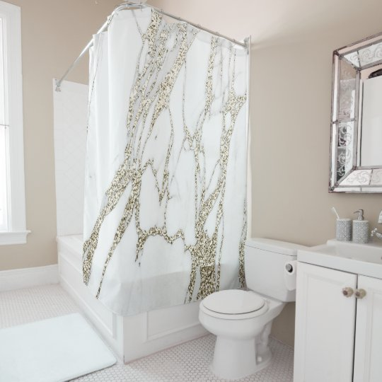 Marble Stone Abstract White Carrara Gold Champaign Shower