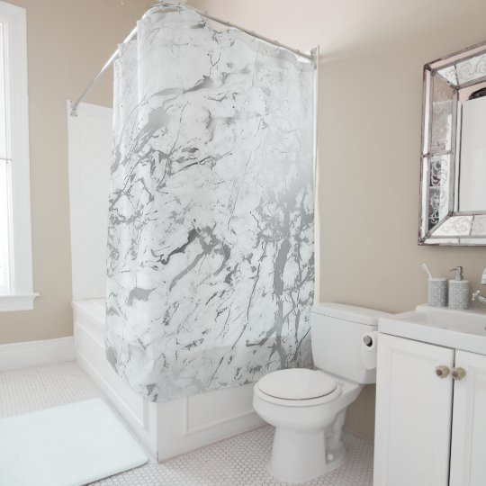 Marble Stone Abstract White Carrara Silver Grey Shower Curtain