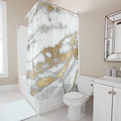 silver and gold shower curtain. Marble Stone Abstract White Grey Rose Gold Copper Shower Curtain  Zazzle Co Uk