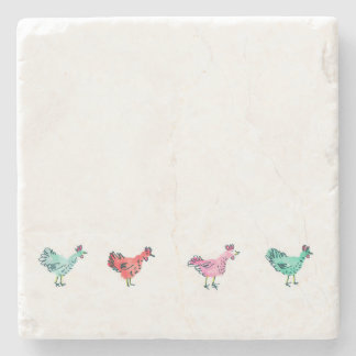 Marble Stone Coaster - Chickens