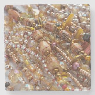 Marble Stone Coaster- Earth Tones Beads Print Stone Coaster