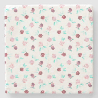 Marble stone coaster with clover flowers
