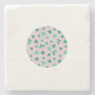 Marble stone coaster with clover leaves on pink