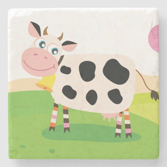 Marble stone coaster : with Cow
