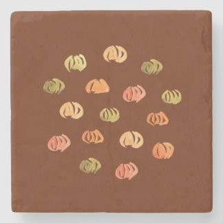 Marble stone coaster with pumpkins