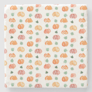 Marble stone coaster with pumpkins and leaves