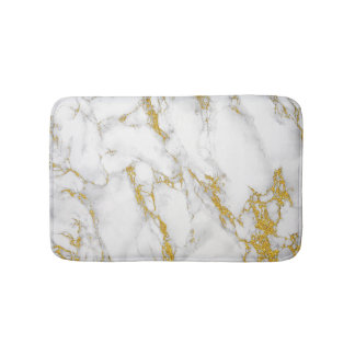Marble Stone In Gray White & Gold Bath Mats