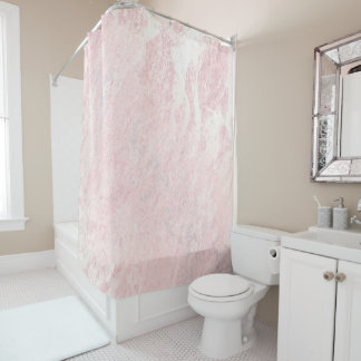 Marble Stone Molten Gold Abstract Pink Rose Pastel Shower Curtain