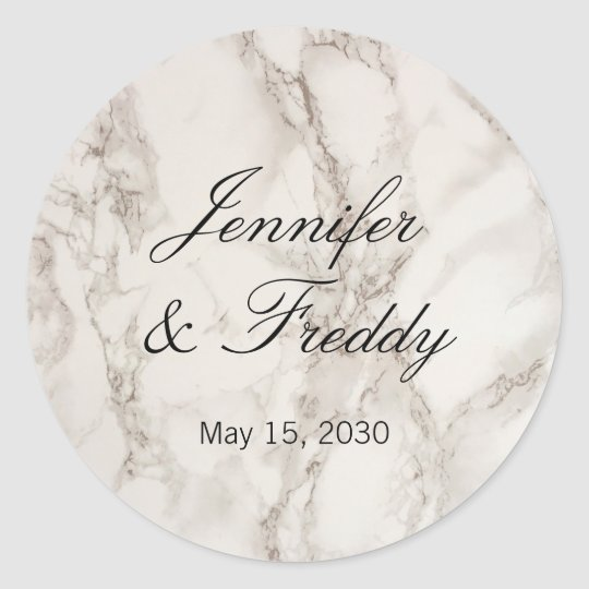 Marble Stone Wedding Round Sticker