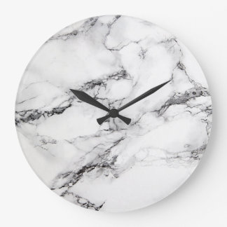 Marble Stone White And Black Large Clock