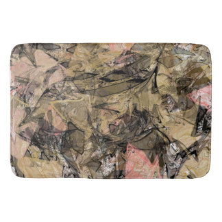 Marble Swirl Abstract Gold Rose Pink Black Modern Bath Mat