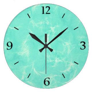 Marble swirl print - aqua blue large clock