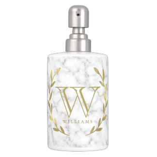 Marble Texture and Faux Gold Foil Monogrammed Soap Dispenser And Toothbrush Holder