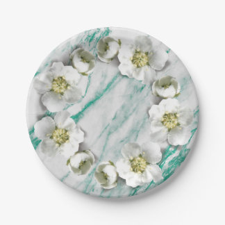 Marble Tiffany Emerald Floral Wreath Glitter Paper Plate