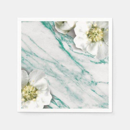 Marble Tiffany Emerald White Jasmine Glitter Disposable Serviette