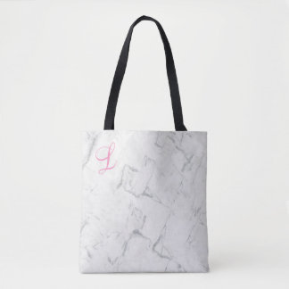 Marble Tote Bag with Initial Momogrammed