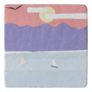 Marble Trivet with Ocean/Mountain Scene