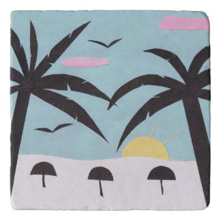 Marble Trivet with Silhouetted Beach Design