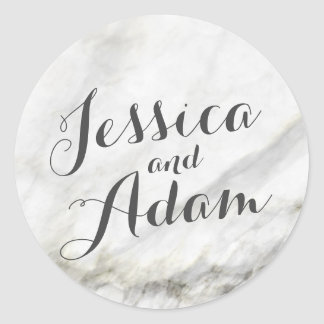 Marble Wedding Classic Round Sticker