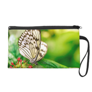 Marble white butterfly wristlet