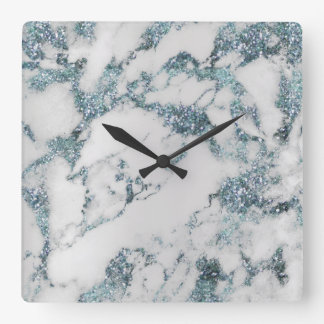 Marble White Gray Aquatic Blue Crystals Sapphire Wallclocks