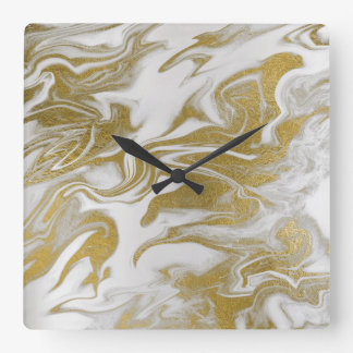 Marble White Gray Gold Abstract Minimal Clock