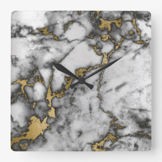 Marble White Gray Gold Graphite Black VIP Clock