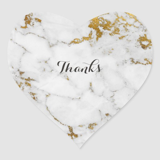 Marble White Gray Gold Simply Heart Heart Sticker
