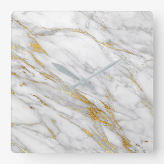 Marble White Gray Golden Blush Graphite Carrara Wall Clocks