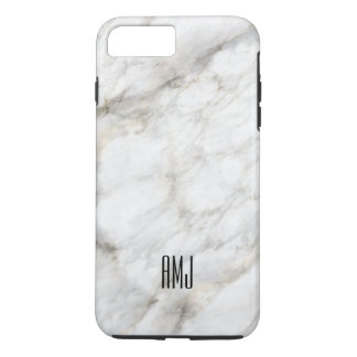 Marble White Gray Monogram iPhone 8 Plus/7 Plus Case