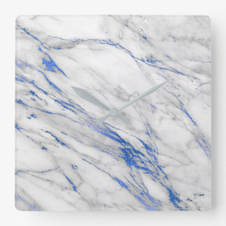 Marble White Gray Saphire Navy Blue Carrara Wallclock