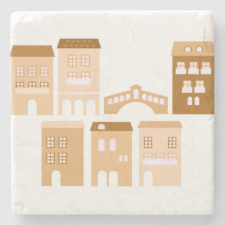 Marble with Italia village : brown Stone Coaster