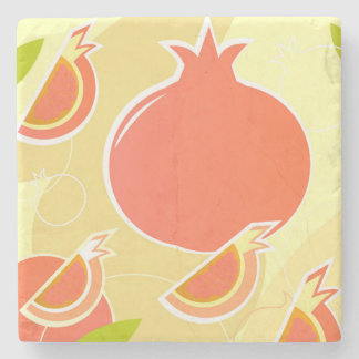Marble with pomegranate stone beverage coaster