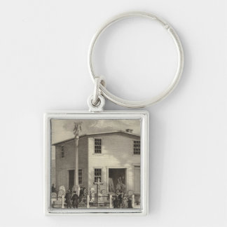 Marble Works of WE Raymond Silver-Colored Square Key Ring