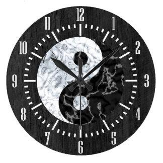 Marble Yin Yang Symbol Large Clock